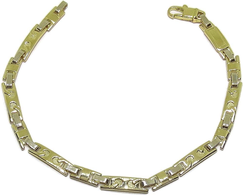 Never say never bracciale da uomo in oro massiccio 18 k bianco e giallo, 12,5 g di peso 01012655