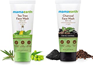 Mamaearth Tea Tree Face Wash With tea Tree & Neem + Charcoal Natural Face Wash for oil control and pollution defence,100ml (Combo Package)