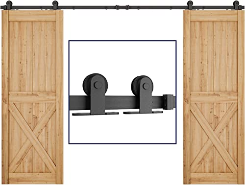 """high quality SMARTSTANDARD 10 FT Top Mount Double Sliding Barn Door Hardware Kit 2021 - Smoothly lowest and Quietly -Simple and Easy to Install -Includes Step-by-Step Instruction -Fit 30"""" Wide Door Panel(T Shape Hanger) outlet online sale"""
