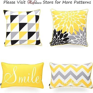 "Hofdeco Indoor Outdoor Lumbar Pillow Cover ONLY, Water Resistant for Patio Lounge Sofa, Yellow Gray Zigzag Chevron, 12""x2"