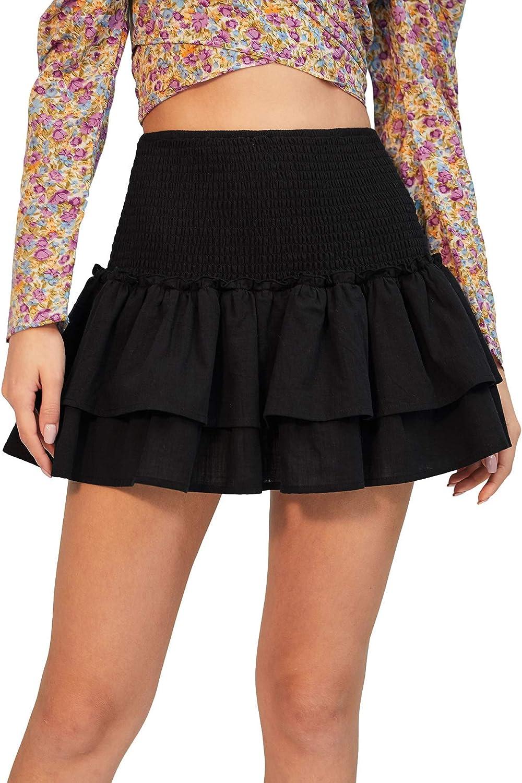SheIn Women's Solid Shirred High Waist Layered Ruffle Hem Flared Mini Skirt