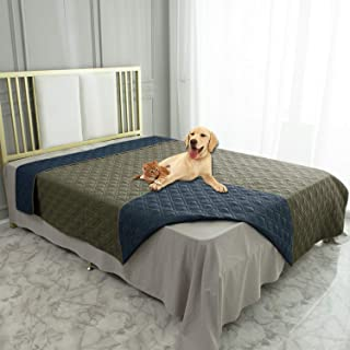 Ameritex Waterproof Dog Blanket for Bed Couch Sofa (82x82 Inches, Green+Navy Blue)