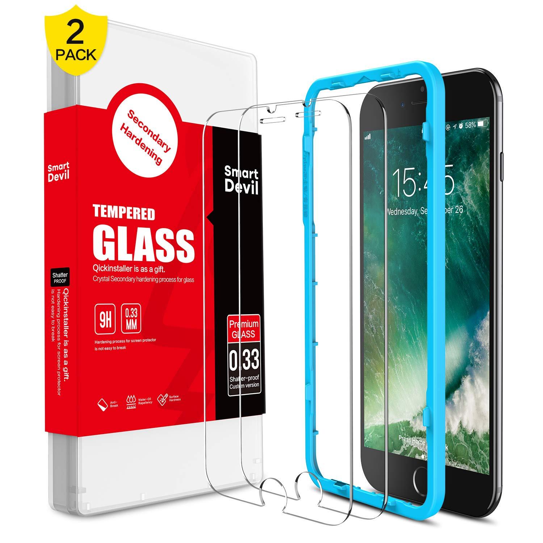 SmartDevil [2 Pack Protector Pantalla de iPhone SE 2020/8/7,Cristal Templado iPhone SE 2020/8/7,Vidrio Templado con [Fácil de Instalar] [Alta Definicion] [Garantía de por Vida] para iPhone SE/8/7: Amazon.es: Electrónica