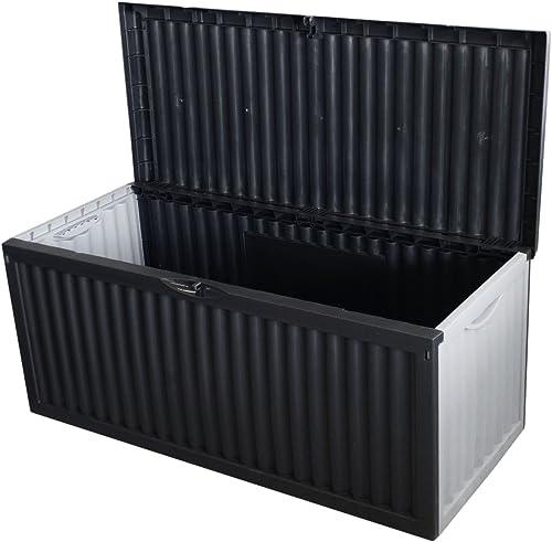 Coffre de rangement en plastique pour le jardin coffre de jardin 350 L 120x54x52cm anthracite pour les coussins mobil...