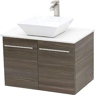 WindBay Wall Mount Floating Bathroom Vanity Sink Set. Taupe Grey Vanity, White Flat Stone Countertop Ceramic Sink - 30