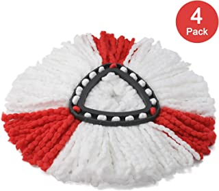 4 Pack Microfiber Spin Mop Refill Head Replacement Easy Cleaning Washable Mop Pad(Red Design)