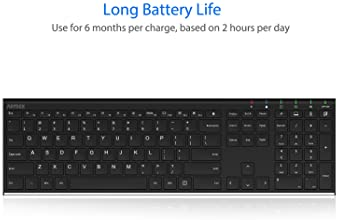 Arteck 2.4G Wireless Keyboard Stainless Steel Ultra Slim Full Size Keyboard with Numeric Keypad for Computer/Desktop/...
