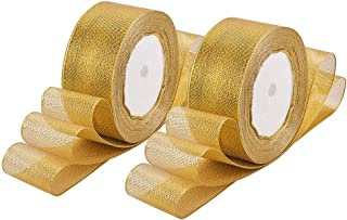 BENECREAT 125Yards (5 Rolls X 25yd) 1-1/2-inch Wide Premium Glitter Metallic Sparkle Fabric Ribbon for Wedding, Holiday, Home Decoration, Gift Wrap (Gold)