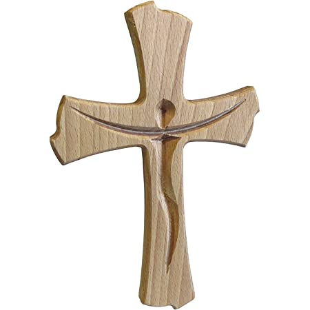 Kaltner Präsente - Crocifisso in vero legno di faggio, idea regalo moderna, per parete, 20 cm
