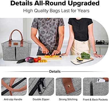Lunch Bags for Women Insulated Fashionable Lunch Box Large Adult Lunch Bag for Work Gray