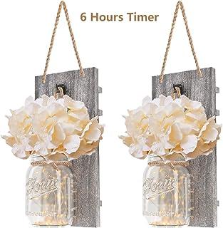 DOGAR Premium Mason Jar Lights - Sconces Wall Décor - Rustic Home Décor with Fairy LED Lights 6...