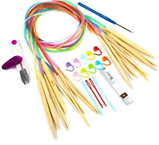 GWHOLE Knitting Needles Set 10 Pairs Circular Bamboo Knitting Needles with Colorful Plastic Tube & Tools Set - 10 Size