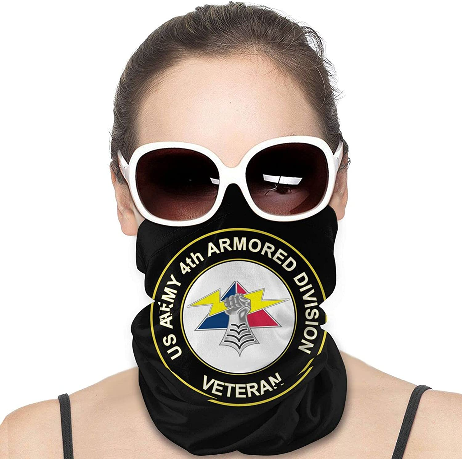 U.S. Army 4th Armored Division Unit Crest Veteran Round Neck Gaiter Bandnas Face Cover Uv Protection Prevent bask in Ice Scarf Headbands Perfect for Motorcycle Cycling Running Festival Raves Outdoors