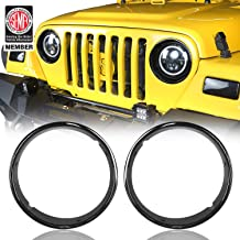 Hooke Road Jeep TJ Bright Black Headlight Bezels Cover Trim for 1997-2006 Jeep Wrangler TJ (Pair)