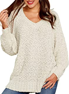 Women's Winter Fuzzy Popcorn Sweater V Neck Long Sleeves Loose Fit Sweatshirt Solid Tops Pullover