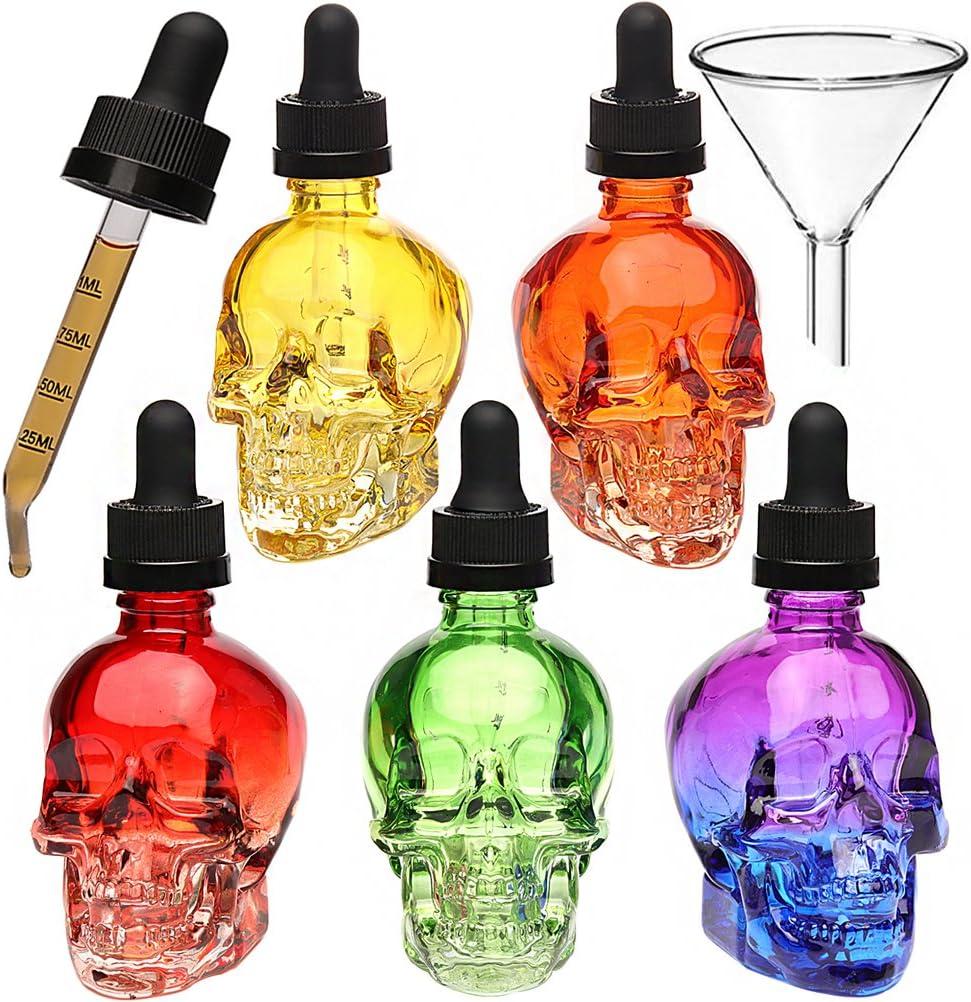 service 3PCS 2oz Skull Glass Dropper liquid Bottles b Refillable Time sale