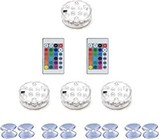 Lengon Updated Battery Powered 16 Colors Changeing Hot Tub Lights,IP68 Waterproof Led Lights for Aquarium,Vase Base,Pond, Garden, Party Decoraction,Swimming Pool,4pcs Set with Remote Control