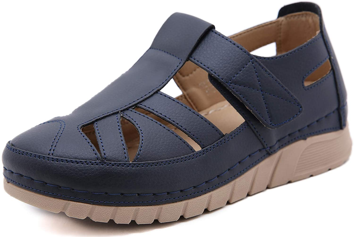 ChayChax Womens Closed Toe Sandals Comfortable Summer Wedge Shoe