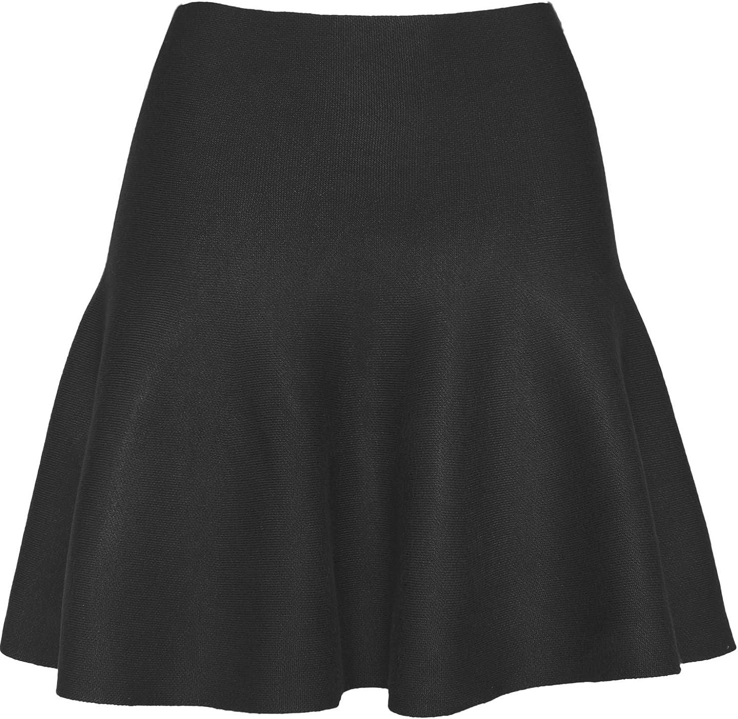 KMystic Womens Basic Winter Knit Stretchy Flared Skater Skirt