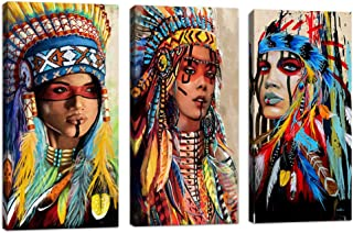 Indian Girl Chief Native American Canvas Wall Art Feathered Women Prints Gifts Home Decor Decals for Bedroom Waterproof Posters Pictures Paintings Framed Ready to Hang (10