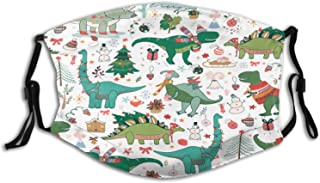 Christmas Dinosaur Face Mask Scarf with 2PCS Filters Washable Reuseable, Kids Mask Dust-Proof Print Adjustable with Ear Loops for Girls and Boys