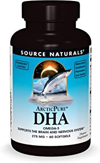 Source Naturals ArcticPure DHA Omega-3 - 275 mg Supports The Brain and Nervous System - 60 Softgels Strawberry Flavored