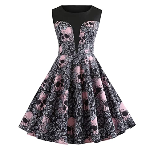 3fe21f61ebb Women s 50s Vintage Floral Sleeveless Dress Spring Garden Swing Party  Picnic A Line Cocktail Dress