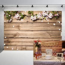 COMOPHOTO 7x5ft Rustic Wood Floral Backdrop Wooden Texture Board Wall Flowers Wedding Photography Background Bridal Shower Baby Shower Birthday Party Decorations Banner Backdrops for Photo Booth