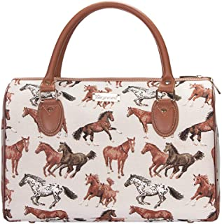 Running Horse Tan Travel Bag by Signare/Ladies Top-Handle Flight Carry-On Weekend Travel Hand Luggage/TRAV-RHOR