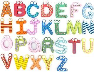 Bonamart Magnetic Letters Fridge ABC Alphabet Magnets for Toddlers Baby, Wooden..