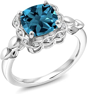 Gem Stone King 925 Sterling Silver London Blue Topaz and White Created Sapphire Women's Ring (2.84 Cttw Cushion Cut 8MM, Available in size 5, 6, 7, 8, 9)