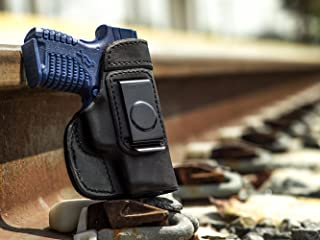 OUTBAGS USA LS2XDS33X Full Grain Heavy Leather IWB Conceal Carry Gun Holster for Springfield Armory XDs with Crimson Trace Laser 3.3
