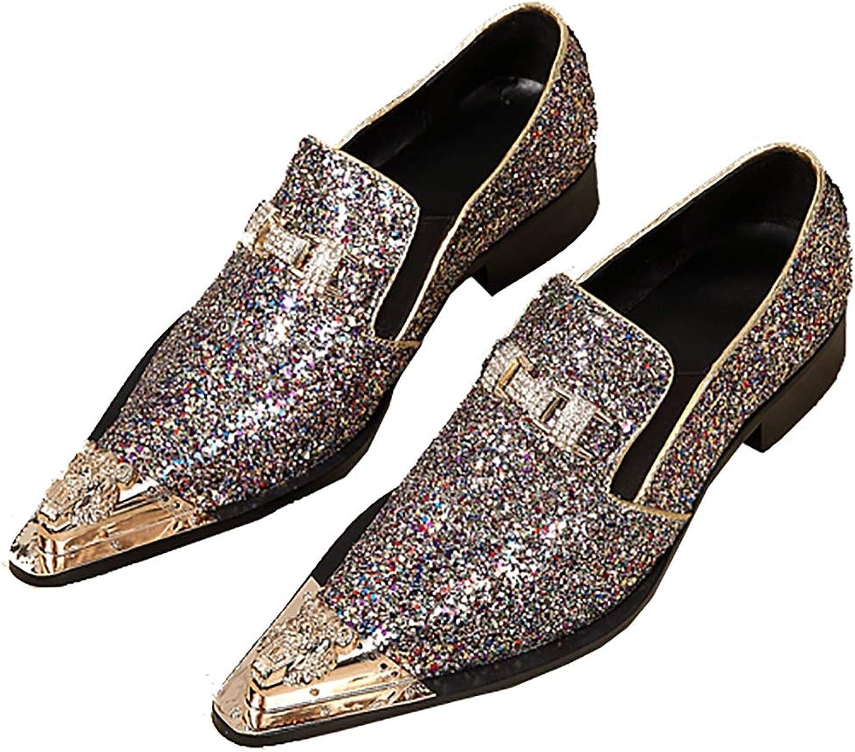 8879c2c451367 Metal Metal Metal Pointed Toe Irregular gold Sequins Dress shoes ...