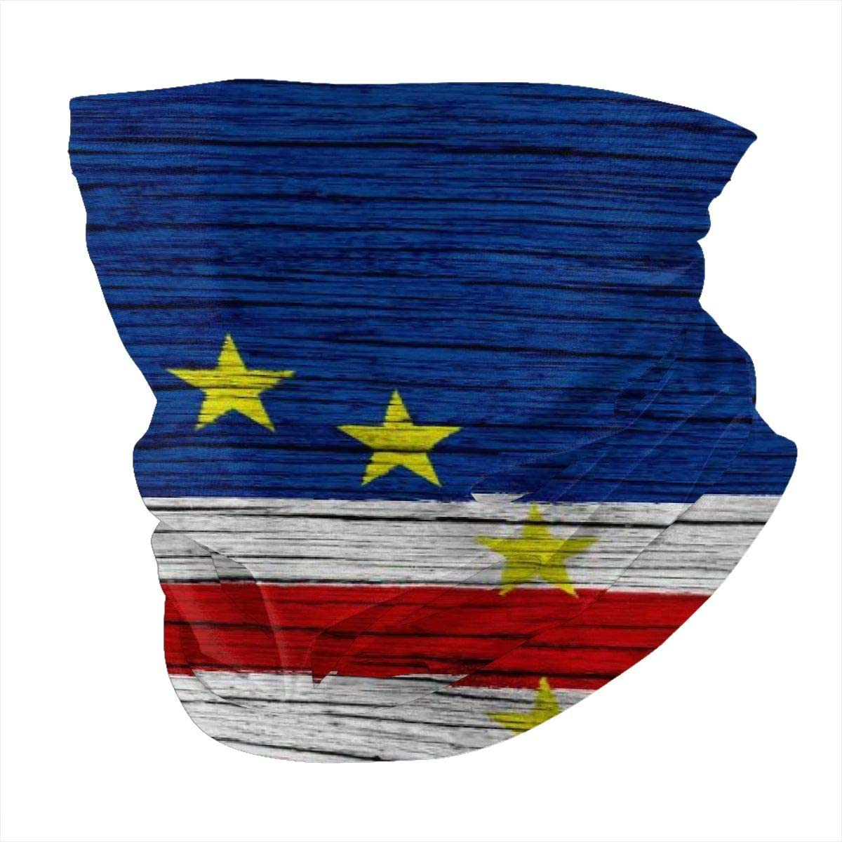 Flag Of Cape Verde Wooden Texture Cape Verdean Headband Headwear Windbreak Scarf Face Mask Washable Dust Mask Balaclava Neck Bandana