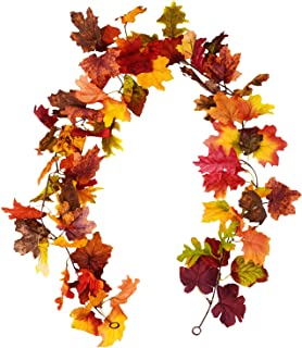 Sunm boutique 2 Pcs Artificial Maple Leaf Garland Hanging Fall Leave Vines Hanging Plants for Indoor Outdoor Autumn Wedding Door Fireplace Thanksgiving Festival Dinner Party