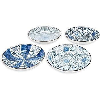 YALONG 7 inch Ceramic Assorted Motifs Floral Blue Plate Set, Shallow Porcelain Plates Set, Pasta Bowls Set of 4, Serving Dinner Bread Butter Dinner Appetizer Salad Floral Dessert Snack