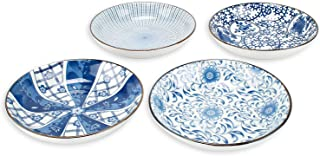 YALONG Porcelain Blue and White Bread and Butter Dinner Plate Set, Appetizer Salad Floral Dessert Snack Serving Shallow Plates Set Bowls Set of 4, 7-inch Assorted Motifs Christmas Day