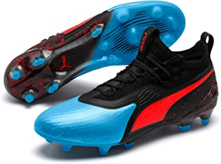 PUMA Men's ONE 19.1 FG/AG Football Boots, Bleu Azur-Red Blast-Puma Black