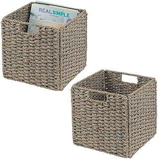 mDesign Juego de 2 cajas de almacenaje – Cajas organizadoras plegables hechas de junco marino – Cestas de almacenaje con patrón trenzado – Ideales para estanterías cuadradas – gris