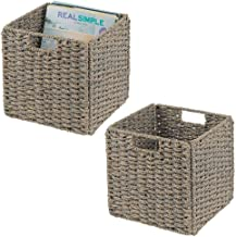 mDesign Natural Woven Seagrass Closet Storage Organizer Basket Bin - Collapsible - for Cube Furniture Shelving in Closet, Bedroom, Bathroom, Entryway, Office - 10.5