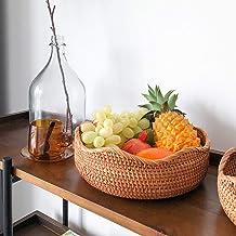 MAHFEI Round Round Basket Bread Roll Basket, Natural Rattan Woven Fruit Basket Hand Woven Storage Basket Pastoral Style Se...