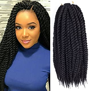 Dingxiu (6 Packs,18 inch) Havana Mambo Twist Crochet Hair Braids Senegalese Twist Crochet Braiding Hair (18