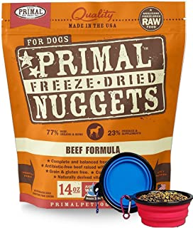 Primal Pet Food - Freeze Dried Dog Food 14-ounce Bag - Made in USA (Beef)