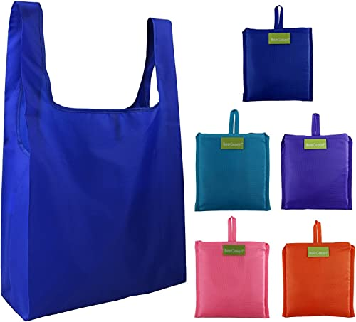 Reusable Grocery Bags Set of 5, Grocery Tote Foldable into Attached Pouch, Ripstop Polyester Reusable Shopping Bags, ...