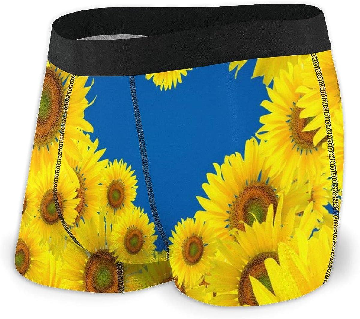 Mens Boxer Briefs Sunshine Love Heart Sunflowers Boys Trunks Underwear Short Leg Breathable Man