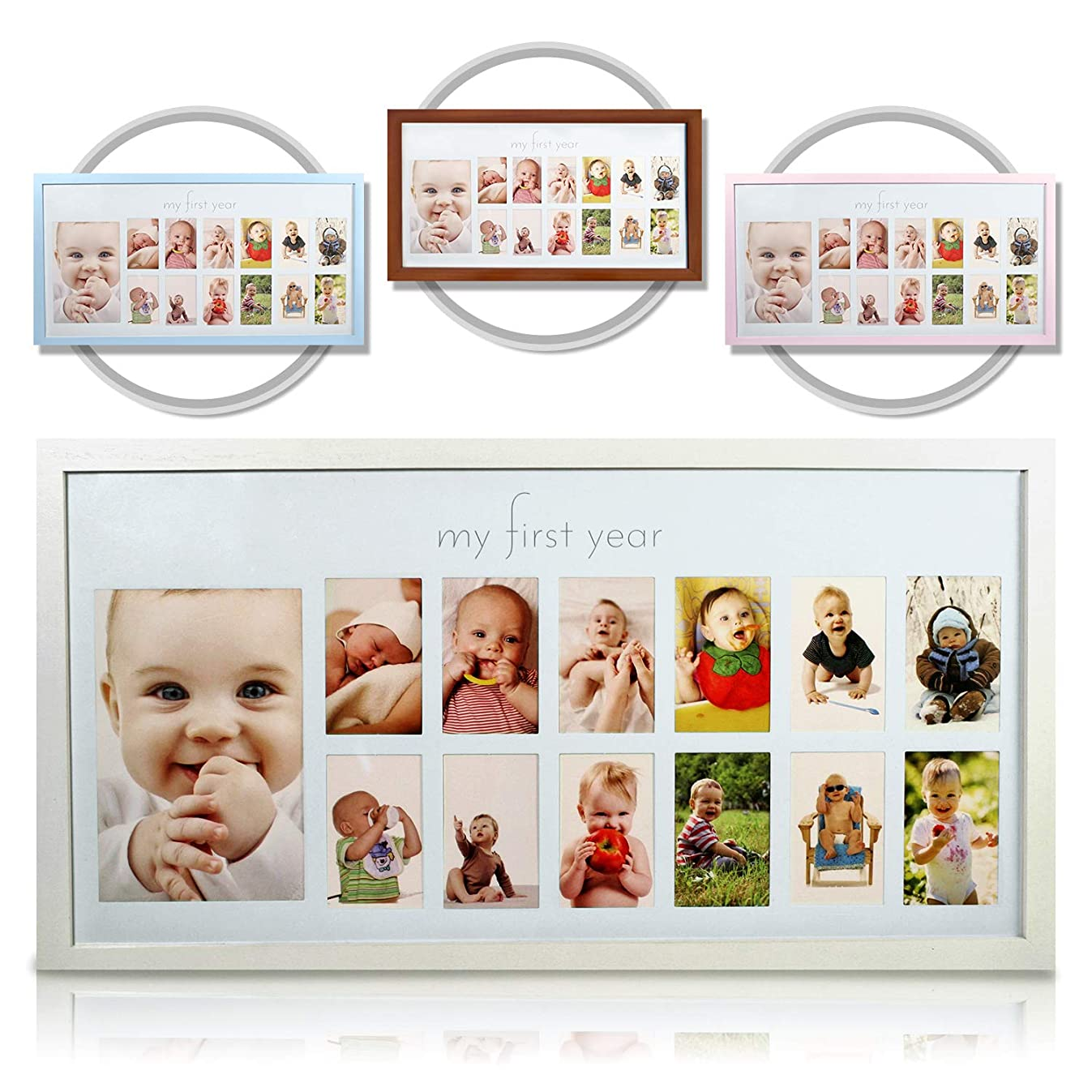 Baby's First Year Frame in Elegant White Natural Wood - My First Year Baby Picture Frame for Photo Memories (White)