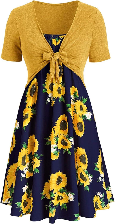 Oiumov Summer Dresses for Women Beach Bow Knot Bandage Mini Dress Floral Sundress Short Sleeve Casual Boho Tank Dress