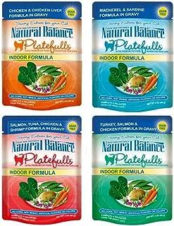 Dick Van Patten's Natural Balance Platefuls Grain Free Ultra Premium Indoor Formula Cat Food 4 Flavor 8 Pouch Variety Bundle