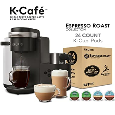 Keurig K-Café Coffee Maker, Single Serve K-Cup Pod Coffee, Latte and Cappuccino Maker, Charcoal and Espresso Roast K-Cup Pod Variety Pack, 24 Count