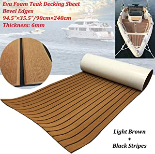 yuanjiasheng EVA Faux Teak Decking Sheet for Boat Yacht Non-Slip and Self-Adhesive Boat Flooring Pad 94.5